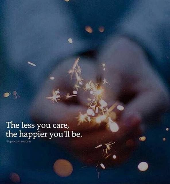 Positive Quotes The Less You Care The Happier Youll Be Hall