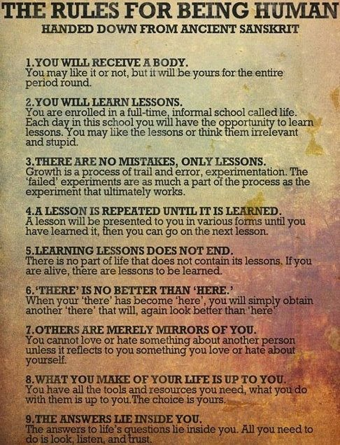 Motivational Quotes The Rules For Being Human Hall Of Quotes
