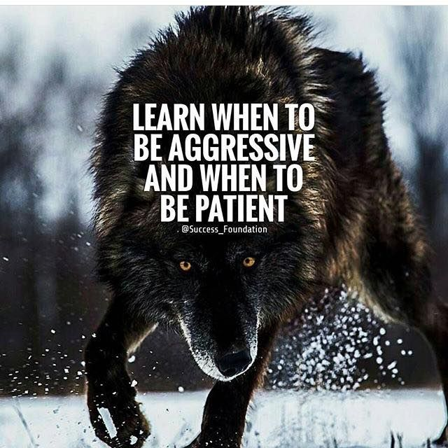 Positive Quotes : Learn when to be aggressive and when to be