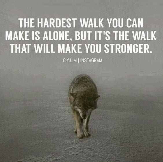 Positive Quotes The Hardest Walk You Make Is Alone But Its The
