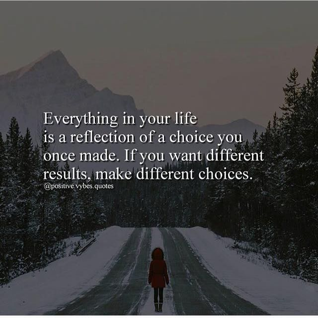 Everything In Your Life Is A Reflection Of A Choice You Once Made