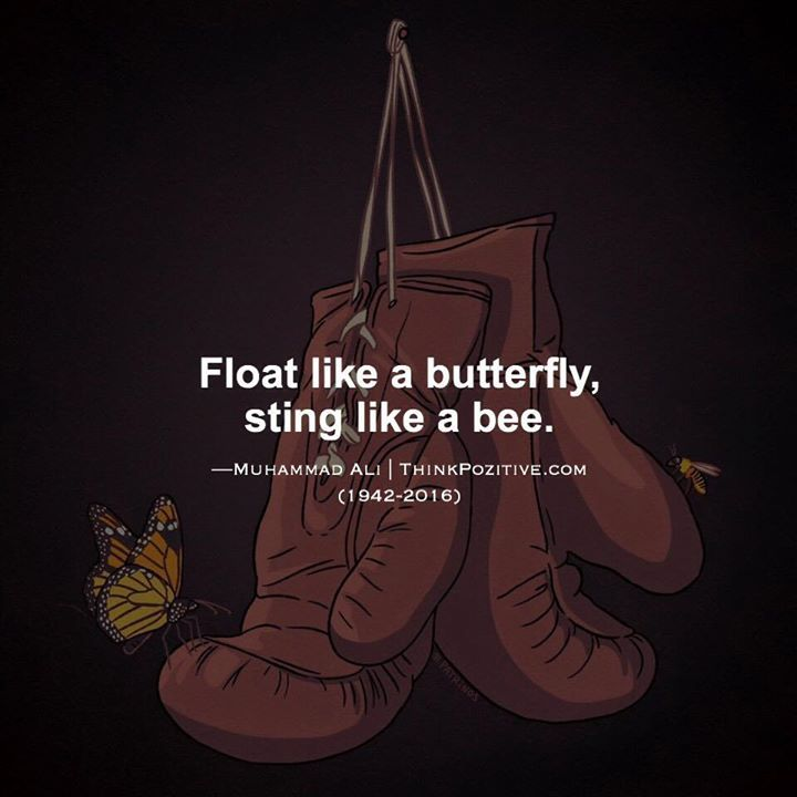 Positive Quotes Float Like A Butterfly Sting Like A Bee Muhammad