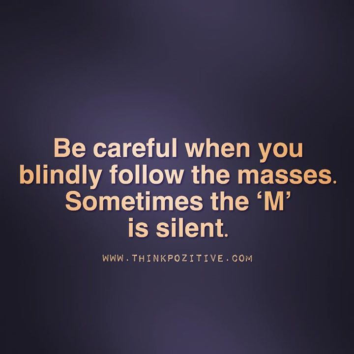 Positive Quotes Be Careful When You Blindly Follow The Masses