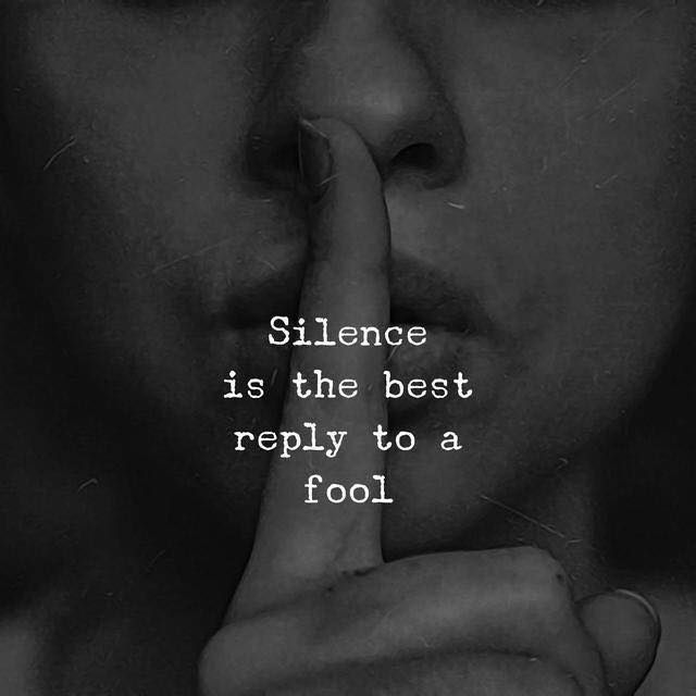Positive Quotes Silence Is The Best Reply To A Fool Hall Of