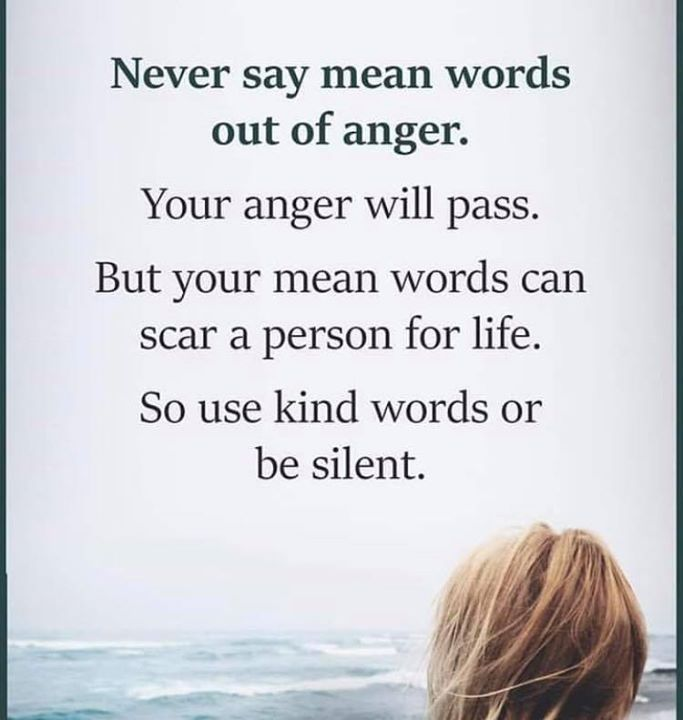 Positive Quotes Never Say Mean Words Out Of Anger Hall Of