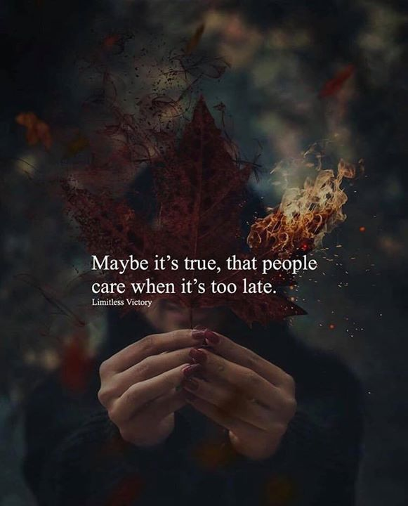 Positive Quotes Maybe Its True That People Care When Its Too Late